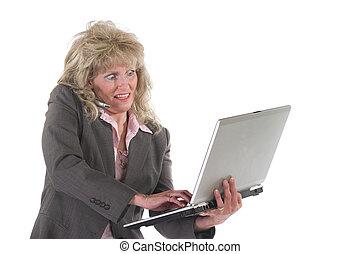 mobiltelefon, womanaffär, laptop, 4, multitasking