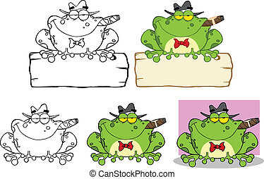 mobster, żaba, na, niejaki, znak, zbiór