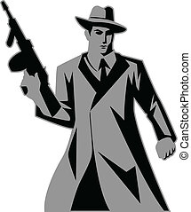Mobster - Icon illustration of a man holding a tom gun
