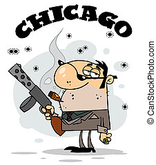 Mobster Holding A Submachine Gun - The Word Chicago Over A...