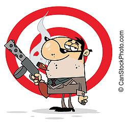 Mobster Holding A Submachine Gun - Tough Cigar Smoking...