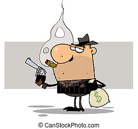 Mobster Holds Gun and Sack of Money - Bank Robber Carrying A...