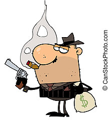 Mobster Holds Gun and Sack of Money - Mobster Smoking A...
