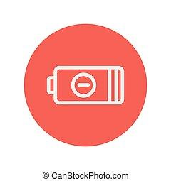 moc, bateria, odmowa, cienka lina, ikona