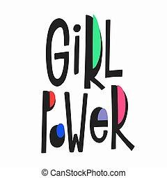 moc dziewczyny, t-shirt, zacytować, lettering.