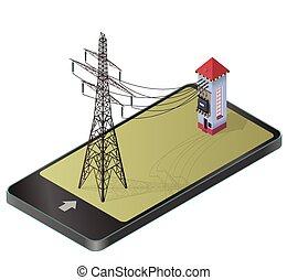 moc, elektryczność, komunikacja, stacja, wysoki-woltaż, paraphrase., technologia, pylon