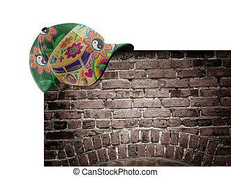 moc kwiatu, kapelusz, na, przedimek określony przed rzeczownikami, ceglana ściana