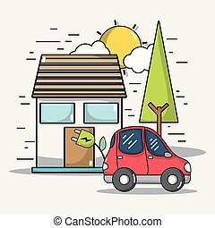 moc, wóz, technologia, elektryczny, lina