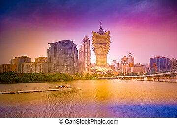 mocau, dusk., 今, マカウ, パノラマ, スカイライン, 部分, 都市の景観, china.