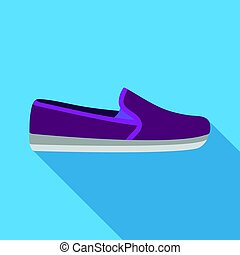 Moccasin icon in flat style isolated on white background. Shoes symbol stock vector illustration.
