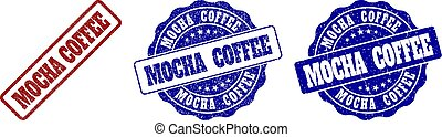 MOCHA COFFEE Scratched Stamp Seals