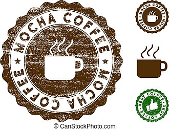 Mocha Coffee Stamp Seal with Grunge Texture