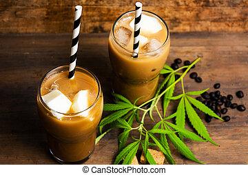 Mocha coffee with marijuana in high drinking glass - Mocha...