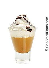 Mocha isolated - Glass of mocha with cream isolated on white