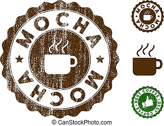 Mocha Stamp Seal with Grunge Style