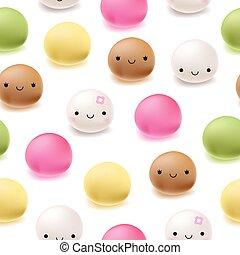 mochi, model, japanner, seamless, dessert, rijst