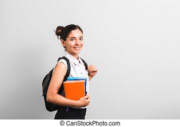 mochila, atractivo, mano, sonriente, lindo, cuadernos, ...