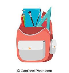mochila, bolsa, escuela