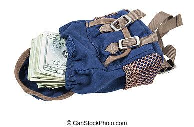 mochila, cheio, de, dinheiro