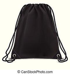 mochila, cima, saco, vetorial, pretas, escarneça