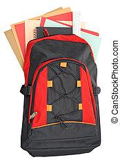 mochila, con, escuela, material