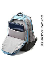 mochila, con, un, computador portatil, dentro, aislado