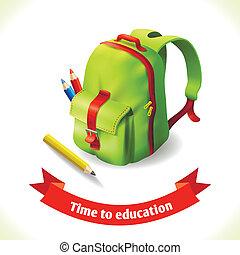 mochila, educación, icono