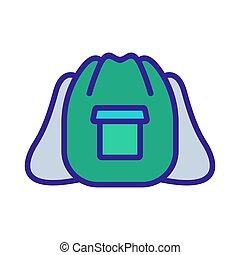 mochila, icono, holgado, bolsillo, excursionismo, contorno, vector, ilustración