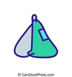 mochila, icono, lado, holgado, bolsillo, vista, sogas, contorno, vector, ilustración