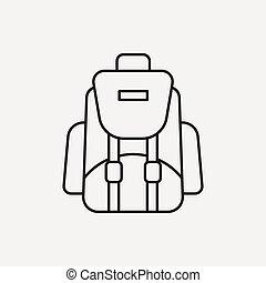 mochila, linha, ícone