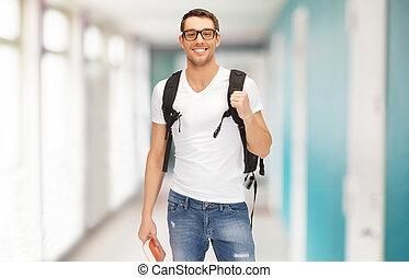 mochila, livro, sorrindo, estudante