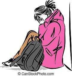 mochila, vetorial, ilustração, triste, sentar, menina, adolescente, jovem