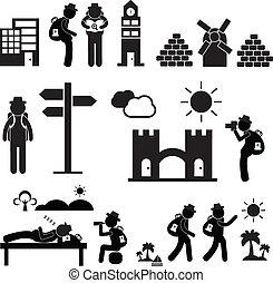 mochila, viajante, explorador, ícone