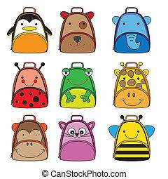 mochilas, animal, dado forma