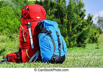 mochilas, pradera, dos, touristic
