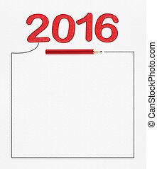 mock, 図画, ペーパー, の上, あなたの, テキスト, 数, 白, 付け加える, 2016, 赤い鉛筆, フレーム