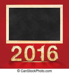 mock, 黒板, テキスト, の上, 幸せ, あなたの, 新しい, 部屋, 付け加える, 2016, ブランク, 赤, 年, スタジオ