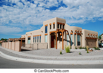 Mock adobe Southwestern home, Bernalillo, New Mexico