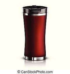 Mock-up Black Thermomug - Vector Mock-up Red Thermomug