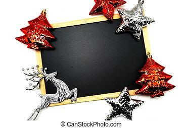 Mock up blackboard with Christmas decoration on white background