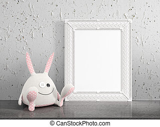 Mock up blank frame. 3d rendering