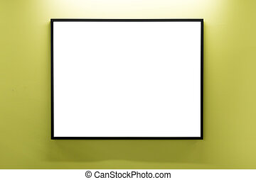 Mock up. Blank picture frame on yellow wall. Gallery wall with empty frame indoor.