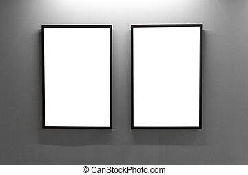 Mock up. Blank picture frames on gray wall in the loft interior. Gallery wall with empty poster frames indoor.