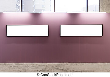 Mock up. Blank picture frames on pink wall in the loft interior. Gallery wall with empty poster frames indoor.
