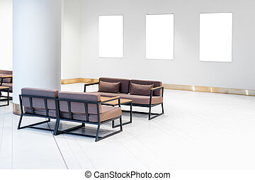 Mock up. Blank picture frames on white wall. Gallery wall with empty frames indoor.