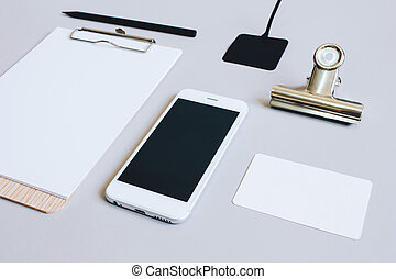 Mock up business of stationery and smartphone, minimal style