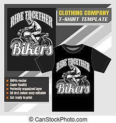 mock up clothing company, t-shirt template, bikers vector