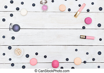 mock up. cosmetics on white wooden background