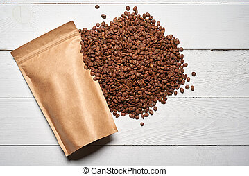 Mock-up craft paper pouch bags with coffee beans - Mock-up ...