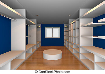 walk-in closet with blue wall - Mock-up for minimalist...